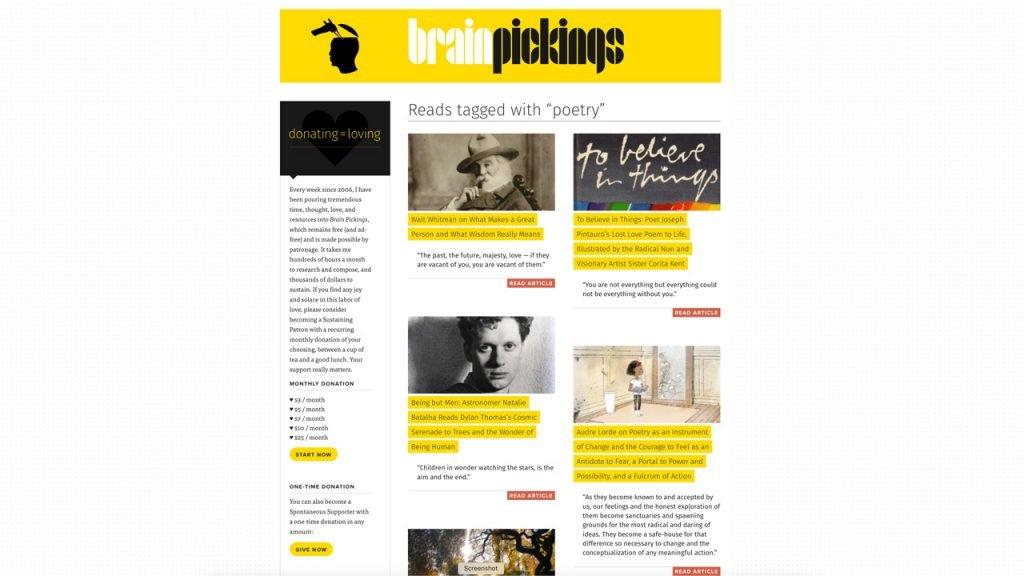Website Brain Pickings